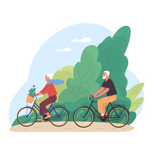 Elderly Couple Spends Time Outdoors.Vector Illustration Of Cartoon Happy Senior Man And Woman Cycling In Summer Park. Isolated On Background
