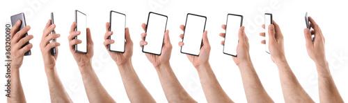 Fototapeta Sequence of hands holding vertical mobile isolated white obraz