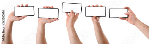 Obraz Set of various views hands with mobile horizontal isolated - fototapety do salonu