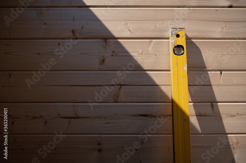 Wooden Wall With Spirit Level Fototapet