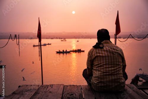 Valokuva Meditation at Near Ganga River, Varanasi, India.