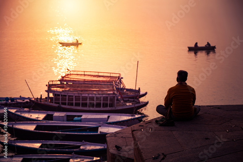 Meditation at Near Ganga River, Varanasi, India. Canvas-taulu