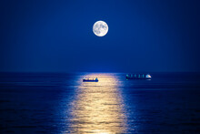 Scenic View Of Sea Against Moon At Night