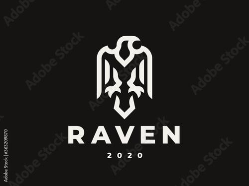 Obraz na plátně Raven linear logo