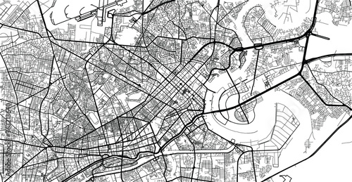 Fotomural Urban vector city map of Ho Chi Minh, Vietnam