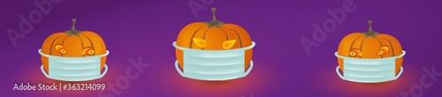 Photo Drei bösen Kürbisgeist mit Mundschutz in einem Banner mit Kerzenlicht auf violettem Hintergrund