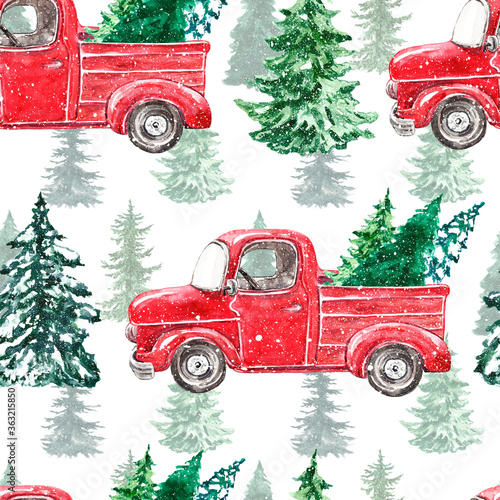 Fototapeta Watercolor Christmas seamless pattern with red truck and pine trees on white background. Winter print with hand drawn vintage car and holiday snowy tree. Forest illustration obraz