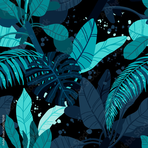 Seamless hand drawn tropical vector pattern with exotic palm leaves and various plants on dark blue indigo background. Wall mural