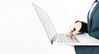 Midsection Of Businesswoman Using Laptop Against White Background