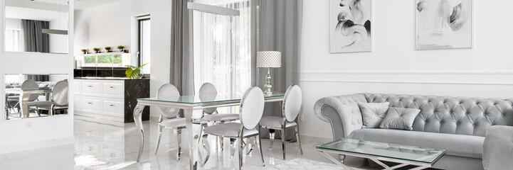 Glamour style home interior, panorama