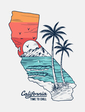 California Vector Illustration, For T-shirt Print, Posters And Other Uses.