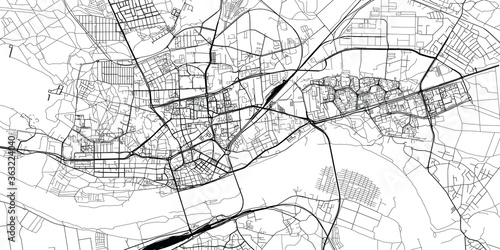 Urban vector city map of Torun, Poland
