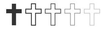 Set Christian Cross Icon Latin...