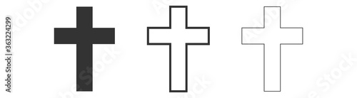 Set Christian cross icon Latin cross icon Isolated on white background Fototapeta