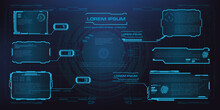 HUD, GUI, UI Futuristic Frame. User Interface Wich Screen Elements. Screen Panels In Futuristic Design. Screen Gadget Technology For Gaming Application