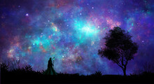 Space Scene. Magician Standing On Landscape Silhouette With Tree And Fractal Colorful Nebula. Digital Painting. Elements Furnished By NASA. 3D Rendering