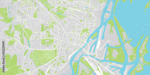 Urban vector city map of Szczecin, Poland