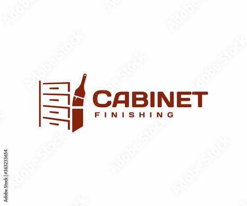 Cabinet finishing and refinishing logo design. Varnishing furniture vector design. Wood stain logotype Wall mural