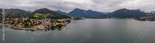 Fototapeta Drone Shot Over Tegernsee Outside Munich Showing Lake And Mountains. obraz na płótnie
