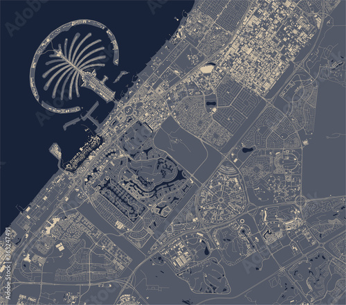 Photo map of the city of Dubai, United Arab Emirates UAE