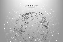 Abstract White And Gray Globe Triangle Geometry Background And Wallpaper. Global Network Connection, Social Communications Concept, Digital Technology Banner.