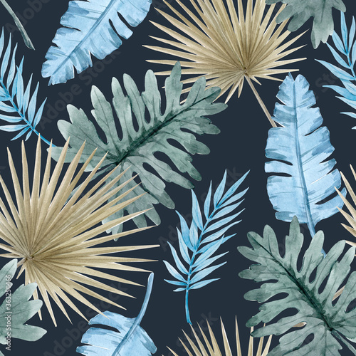 Fototapeta Beautiful seamless pattern with watercolor tropical leaves. Stock illustration obraz