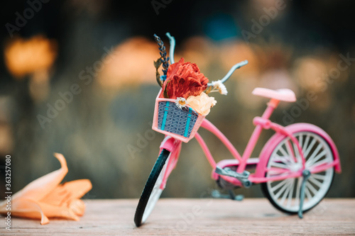 Fototapeta Vintage bicycle in summer meadow made with color vintage tone. Filtered effect. Vintage pink bicycle with flower basket. obraz