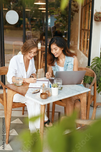 Women On Online Meeting At Cafe Canvas Print