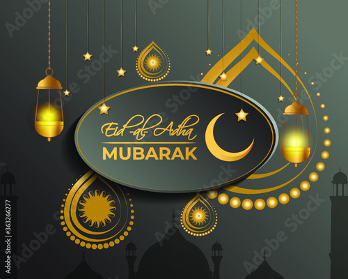 vector illustration of greeting for  Islamic festival with Eid al -Adha means  Eid al -Adha ,golden moon & lantern with beautiful shiny cloudy evening Canvas Print