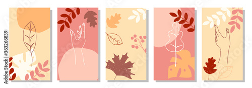Set of vertical abstract autumn backgrounds or card templates in modern colors, Canvas-taulu