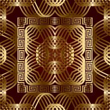 Greek Style Gold Lines 3d Seamless Pattern. Vector Ornamental Geometric Background. Greek Key Meander Square Frames, Borders. Line Art Curves Intricate Elegant Ornaments. Luxury Ornate Repeat Design