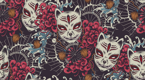 Japanese theme vector seamless pattern with a Kitsune mask Wallpaper Mural