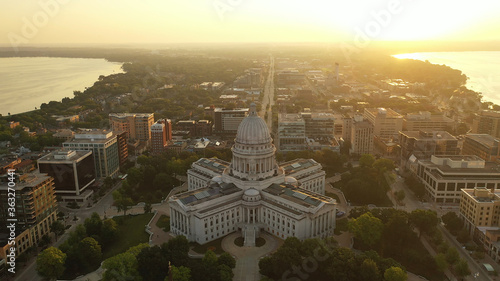 Aerial view of City of Madison Canvas Print