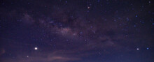 Panorama Blue Night Sky Milky Way And Star On Dark Background.Universe Filled, Nebula And Galaxy.Many Stars On Dark Night With Noise , White Clouds Obscured And Disturbed.