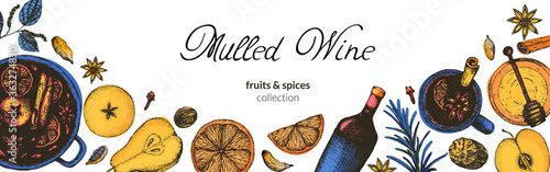 Fototapeta Vector illustration of a long banner or footer for a website or brochure with mulled wine