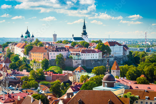 Tallinn, Estonia Historic Skyline of Toompea Hill. Canvas