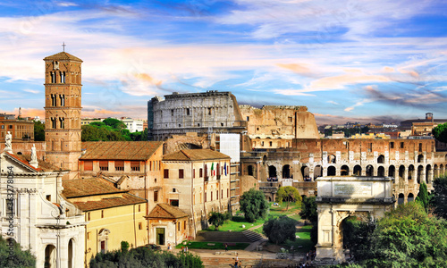 Fototapeta Roman Imperieal Forum and Colosseum. Landmarks of Italy