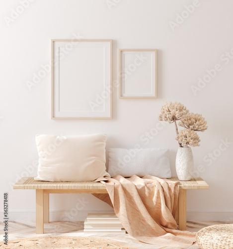 Fototapeta Scandinavian style living room, interior in pastel colors, wall mockup, 3d render obraz