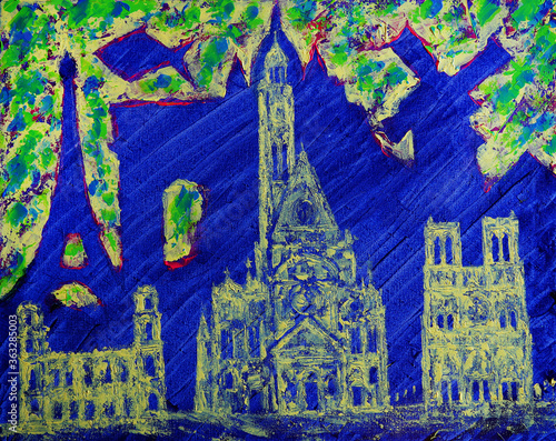 Foto Abstract art painting of the Paris city and fishes
