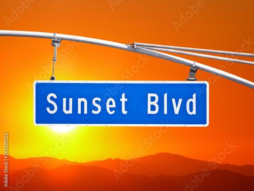Sunset Blvd street sign with orange dusk sky in Los Angeles, California. #363289222