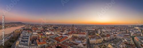 Panoramic aerial drone shot of St. Stephen Basilica at Budapest © Davidzfr