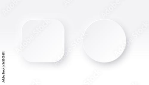 Neumorphic square and round buttons Fototapeta
