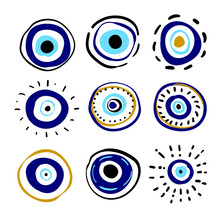 Greek Evil Eye Vector Symbol Of Protection. Amulet Icon. Turkish Nazar Boncugu Amulet Illustration. Believed That It Protects Against Evil Eye. Hand Drawn Collection. Set Of Blue Turkish Eyes