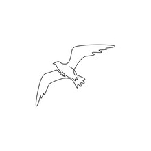 Single Continuous Line Drawing Of Elegant Seagull For Nautical Logo Identity. Adorable Seabird Mascot Concept For Sea Port Symbol. Modern One Line Vector Graphic Draw Design Illustration