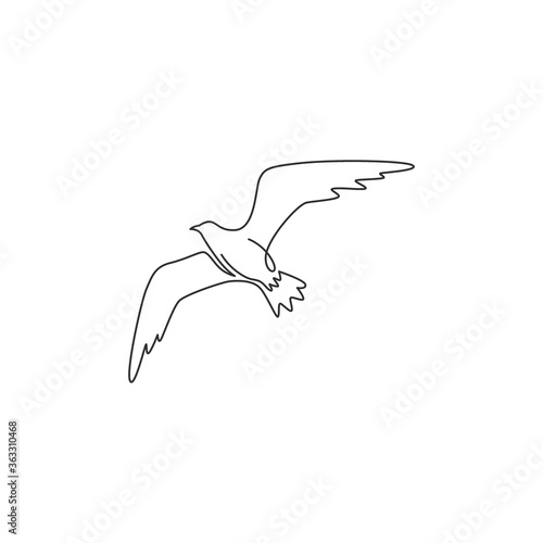 Fotografia Single continuous line drawing of elegant seagull for nautical logo identity