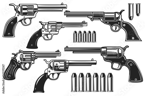 Fotomural Set of illustrations of revolvers and cartridges