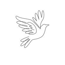 One Single Line Drawing Of Adorable Elegant Fly Dove Bird For Logo Identity. Cute Pigeon Mascot Concept For Bird Lover Club Icon. Dynamic Continuous Line Draw Design Graphic Vector Illustration