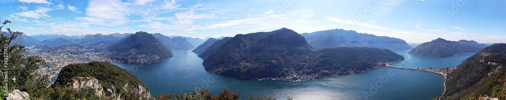 Fototapeta Panorama view of Lugano Lake. Ticino canton, Switzerland