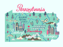 Illustrated Map Of  Pennsylvania, USA. Travel And Attractions. Souvenir Print