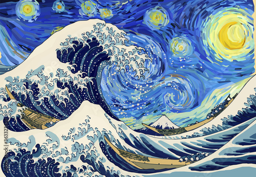 The Great Wave Off Kanagawa in the Starry Night Canvas-taulu